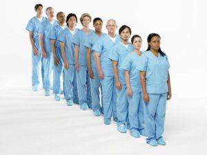 docs nurses all in blue line